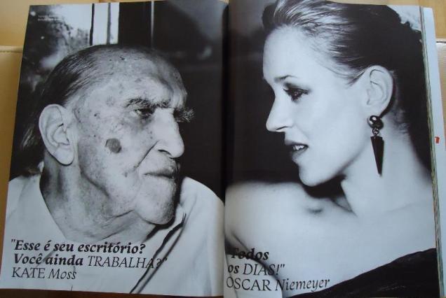 """Kate Moss: """"Esse é seu escritório? Você ainda trabalha?"""" Oscar Niemeyer: """"Todos os dias!"""" (Vogue Brasil, maio de 2011)"""