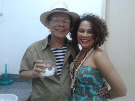 Cesar Teixeira e Lena Machado nos camarins da vida. Acervo pessoal da cantora