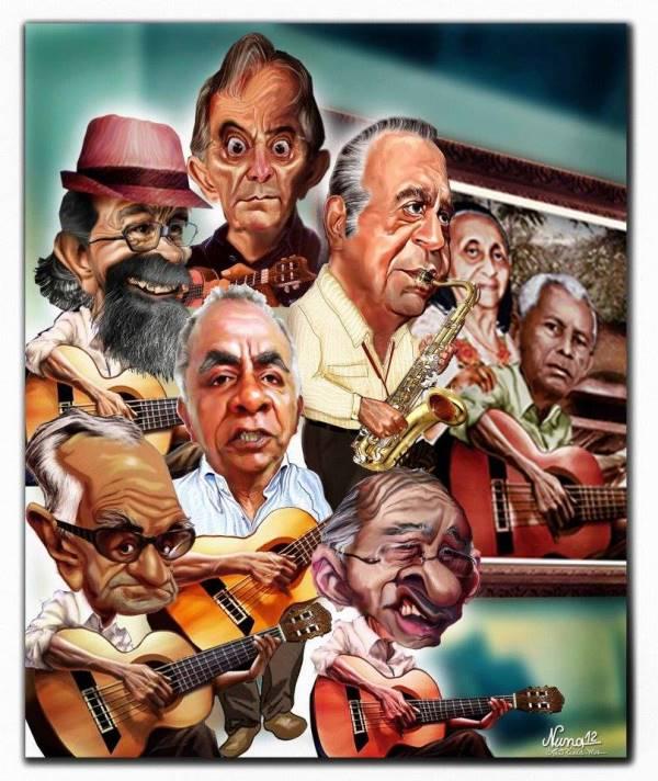 No traço de Nuna Neto (chargista de O Imparcial), outro herdeiro do capitão Gomes, a família musical reunida