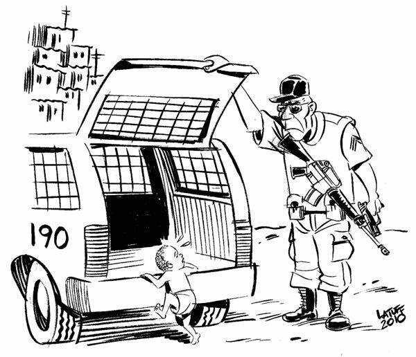 O chargista Carlos Latuff dando a real sobre a redução da maioridade penal em charge de 2010
