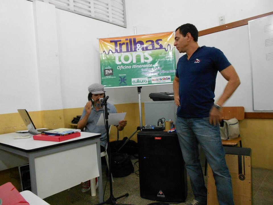 Os músicos Wilson Zara e Nosly em Pedreiras, durante primeira edição de Trilhas e Tons. Foto: divulgação