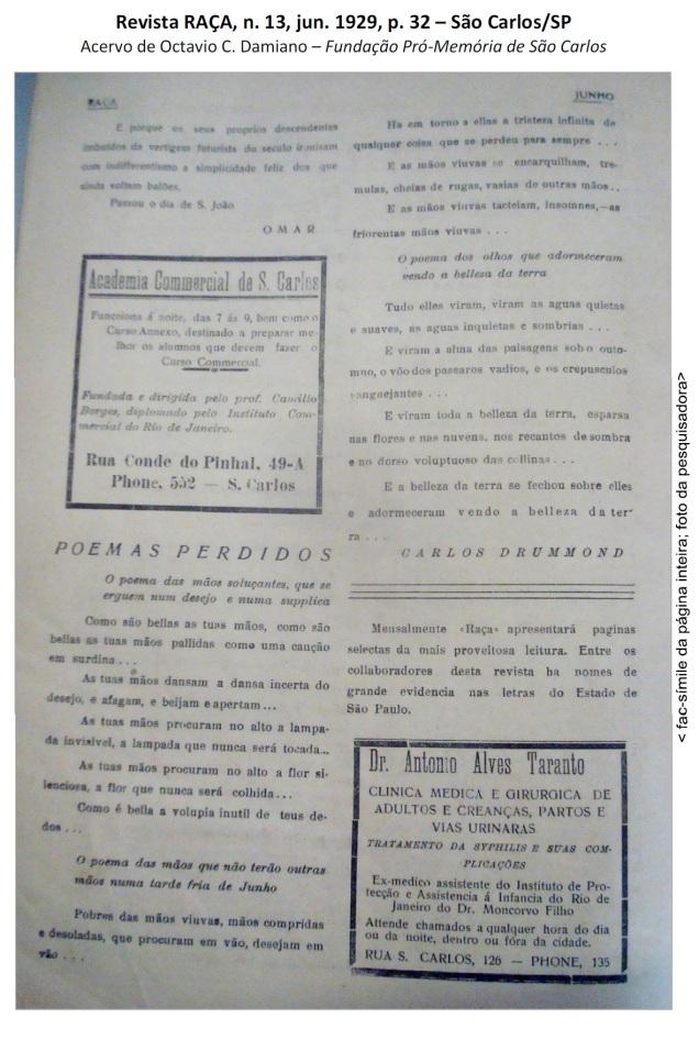 Fac símile da página com os poemas perdidos do jovem Drummond. Reprodução