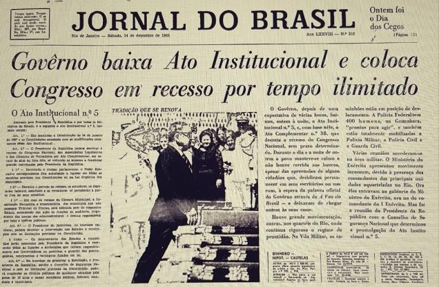 No dia seguinte ao AI-5 a genialidade de Alberto Dines (1932-2018), então editor-chefe do Jornal do Brasil, driblou os censores de plantão. Reprodução