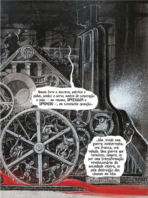 Página do Manifesto comunista em quadrinhos. Reprodução